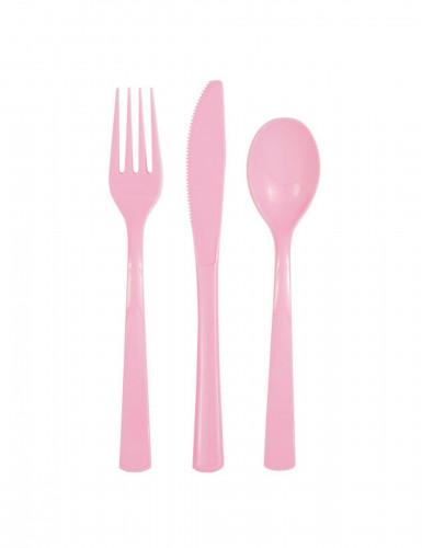 18 Couverts en plastique rose clair