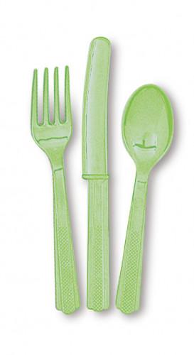 18 Couverts vert pomme en plastique