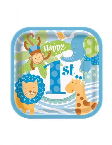 10 Petites assiettes carrées en carton Jungle 1 an Garçon 18 cm