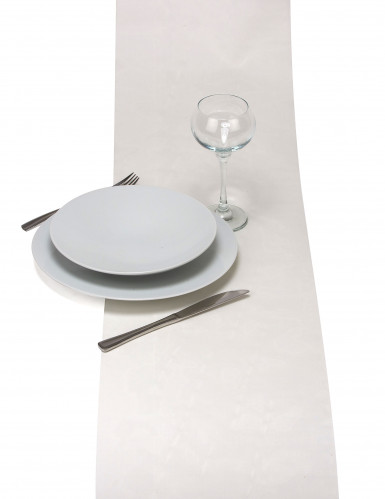 Chemin de table en organza brillant ivoire 28 cm x 5 m-1