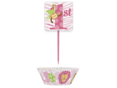 Kit pour cupcake Jungle 1 an Fille