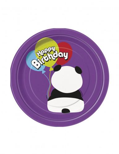 8 Petites assiettes en carton Anniversaire Panda 18 cm