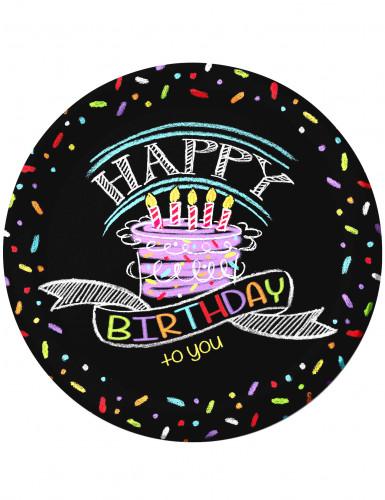 8 Assiettes en carton Confettis Happy Birthday 23 cm