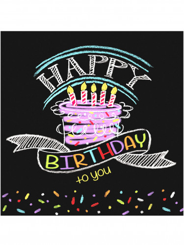 16 Serviettes en papier Happy Birthday to you 33 x 33 cm