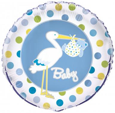 Ballon aluminium Cigogne bleue 46 cm