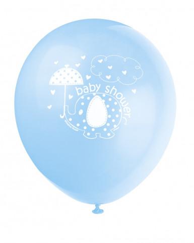8 Ballons Imprimés Elephant Bleu
