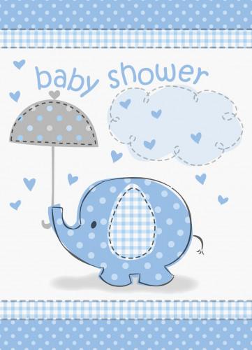 8 Cartes invitations Elephant Bleu