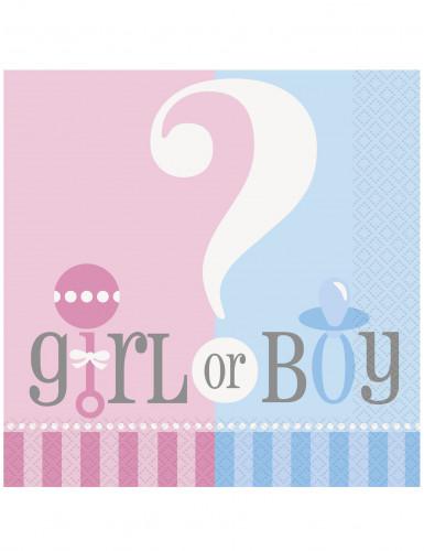 20 Serviettes en papier Girl or Boy 33 x 33 cm