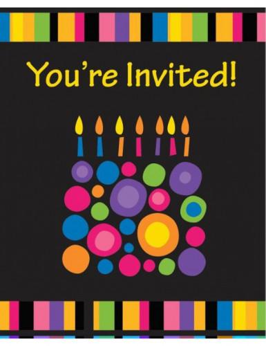 8 Cartes d'invitation Bougies d'anniversaire 10 x 15 cm