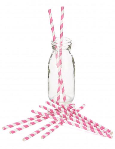 10 Pailles en carton à rayures roses et blanches-1