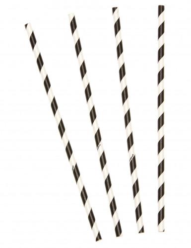 10 Pailles à rayures noires et blanches