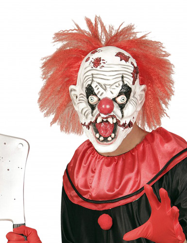 Masque latex clown tueur avec cheveux adulte Halloween
