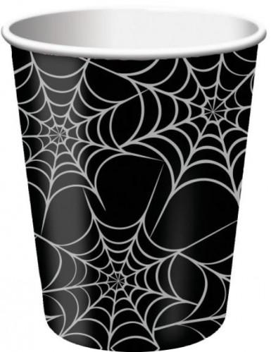 8 Gobelets en carton toile d'araignée 25 cl Halloween