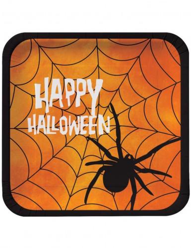 8 Assiettes carrées en carton Happy Halloween 23 cm