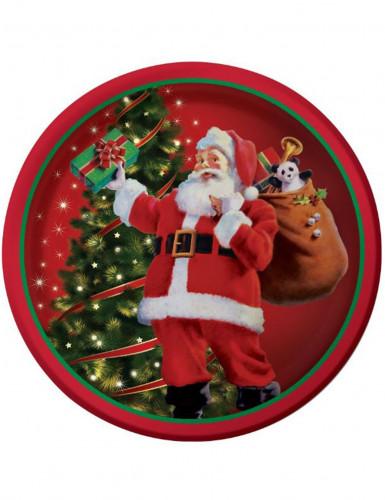 8 Assiettes Cadeaux du Père Noël 23 cm