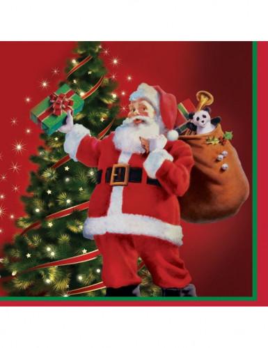 16 petites serviettes en papier rouge Cadeaux du Père Noël 25 x 25 cm