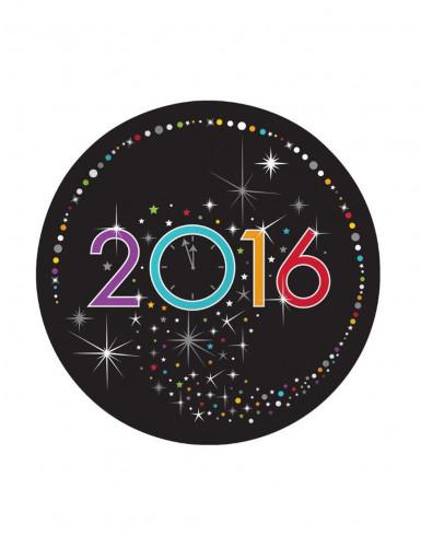 8 Petites assiettes en carton Happy New Year 2016 18 cm