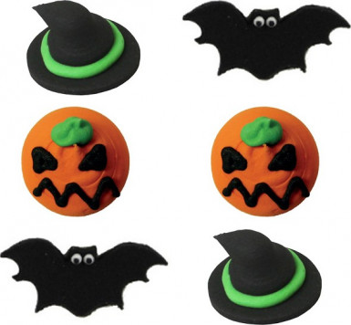 6 Mini disques en sucre effrayants Halloween