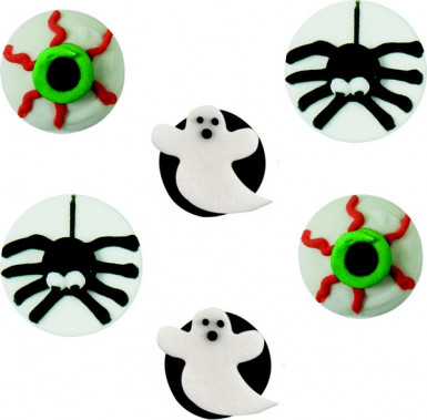 6 Mini disques en sucre Halloween