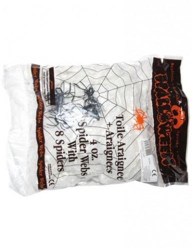 Décoration toile araignées blanche avec 8 araignées 113 g Halloween