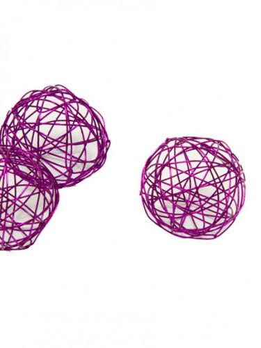 6 Boules de décoration prune métalisé 3.5 cm