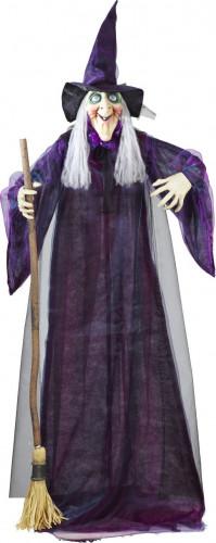 Décoration sorcière animée, lumineuse et parlante 183 cm Halloween