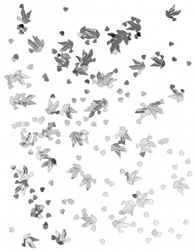 Confettis de table colombes et coeurs argent-1