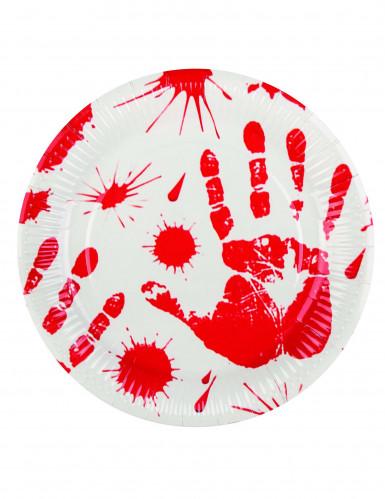6 Assiettes mains ensanglantées 23 cm Halloween