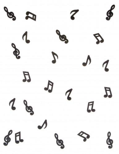 24 Notes de musique en bois noir-1
