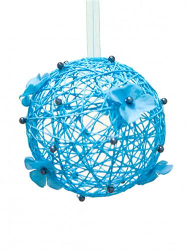 Boule de décoration à suspendre turquoise 12 cm