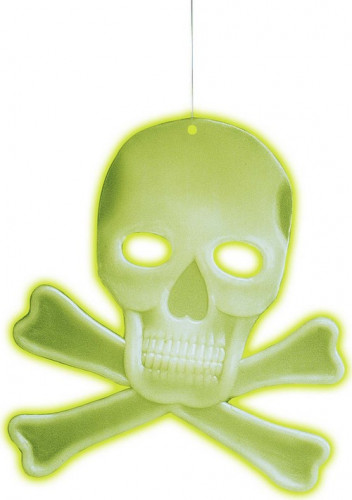 Décoration crâne avec os phosphorescent 27 X 33 cm Halloween