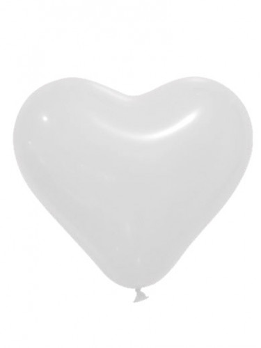 12 Ballons forme coeur Blanc