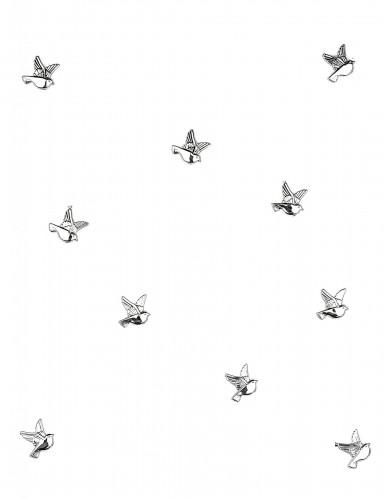 10 Décorations colombes Argent 2 cm-1