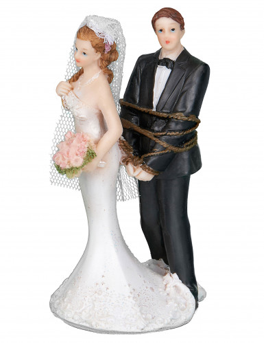 Figurine couple de mariés avec cordelette