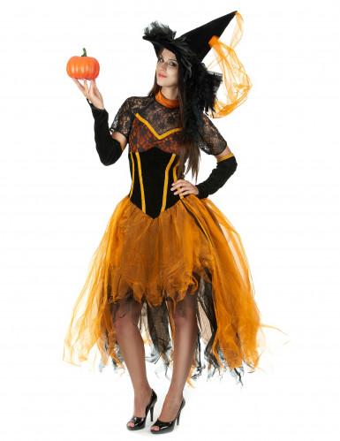 Déguisement sorcière dentellée orange femme Halloween-1