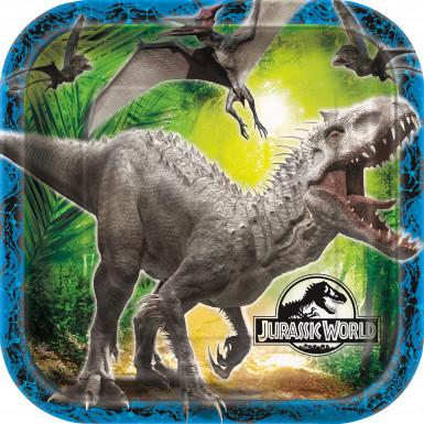 8 Assiettes carrées en carton Jurassic World ™ 22 cm