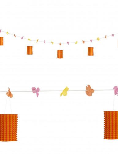 Guirlande fleurs et lanternes orange et rouge 3 m