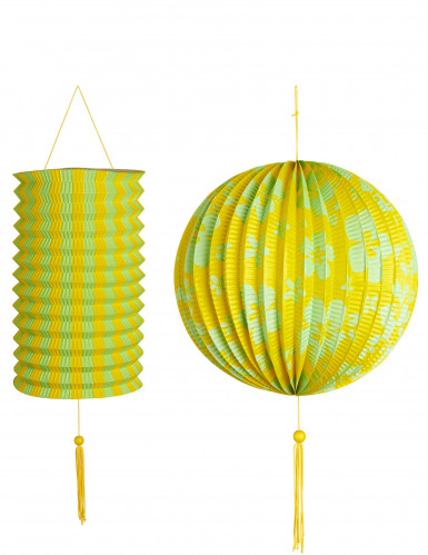 2 Lanternes jaunes et vertes Hawaï