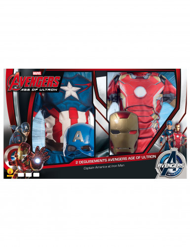 Pack déguisements enfant Iron Man + Captain America - Avengers 2™ Coffret-1