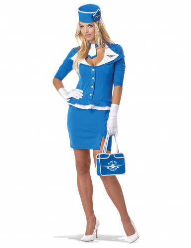 Déguisement Hôtesse de l'Air bleu femme