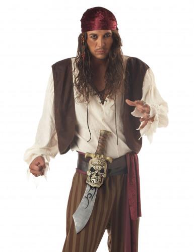 Épée Pirate en plastique avec gaine crâne-1