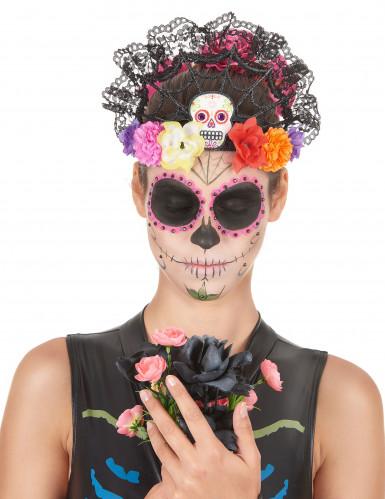 Serre tête tiare fleurs colorées femme Dia de los muertos-1
