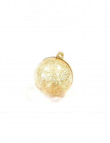 2 Boules transparentes à paillettes dorées 6 cm