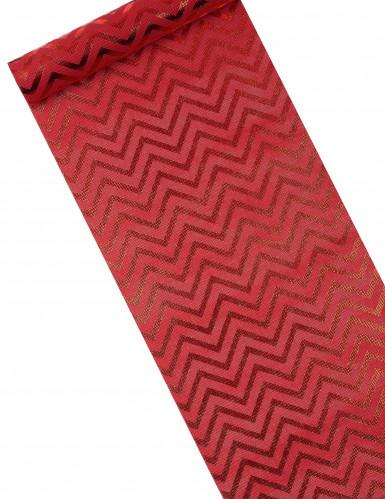 Chemin de table effet naturel imprimé chevron rouge