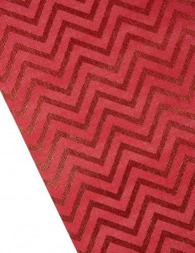 Chemin de table effet naturel imprimé chevron rouge-1