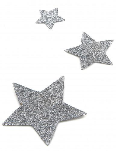 6 Décorations de table étoiles à paillettes argent-1