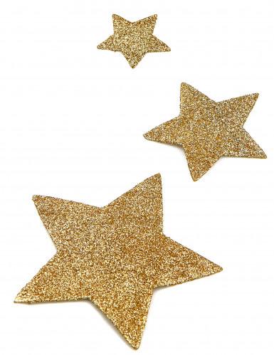 6 Décorations de table étoiles dorées-1