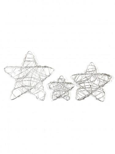 6 Décorations étoiles argentées en métal
