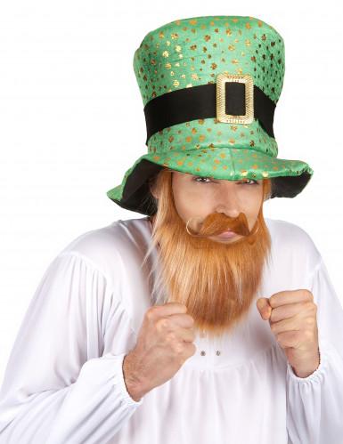 Chapeau haut de forme Saint Patrick trèfles dorés Adulte-1