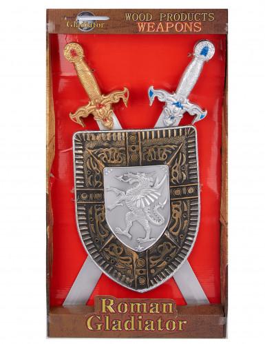 Kit bouclier et 2 épées en plastique pour Enfant-1